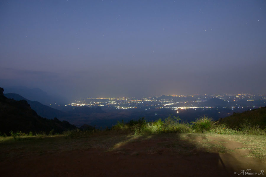 Cumbum town as seen from Ramakkalmedu at night
